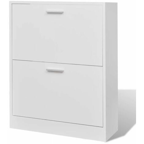 White Wooden Shoe Cabinet with 2 Compartments QAH08630