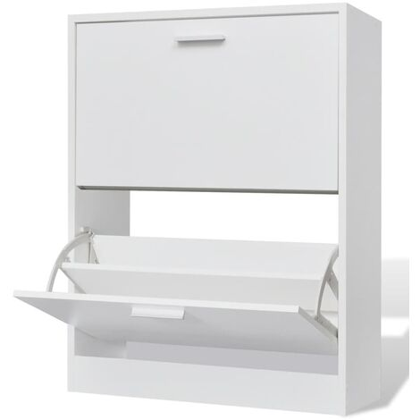 White Wooden Shoe Cabinet with 2 Compartments - White