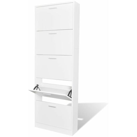 White Wooden Shoe Cabinet with 5 Compartments