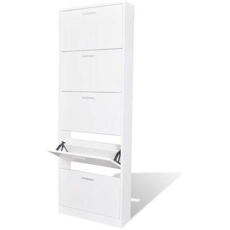 White Wooden Shoe Cabinet with 5 Compartments - White