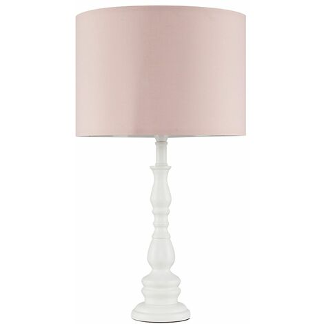 White Wooden Spindle Table Lamp + Pink Shade - 10W LED Gls Bulb Warm White