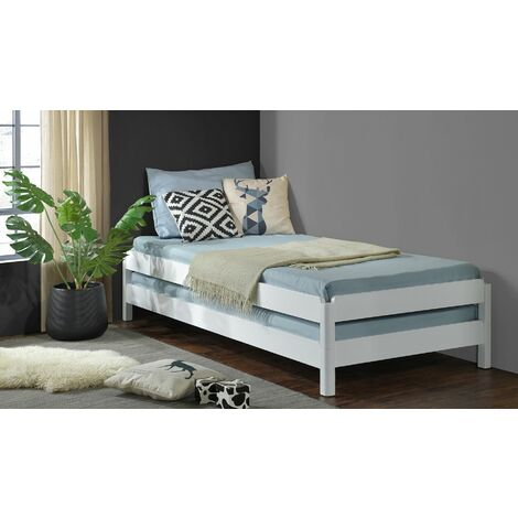 White Wooden Stacking Bed. 3in1 Guest Bed; 2 Layer Space Saving Bed Frame, Converts to 2 Single Day Beds - Frame Only