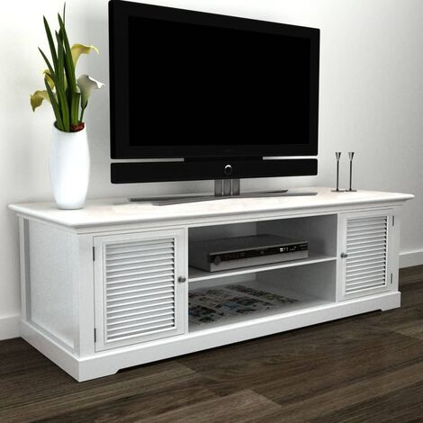 White Wooden TV Stand - White