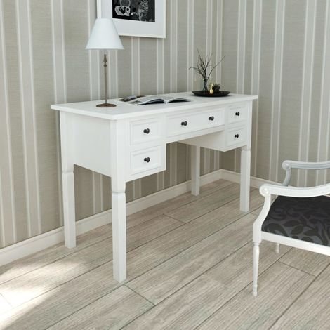 White Writing Desk with 5 Drawers VD08783