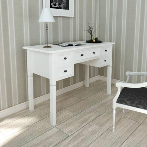 """main image of """"White Writing Desk with 5 Drawers9599-Serial number"""""""
