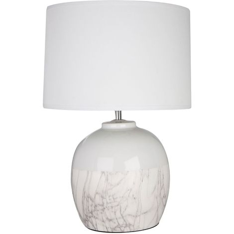 Whitley Table Lamp, White Ceramic, White Fabric Shade