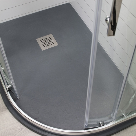 Wholestone Slate Right Hand 1200mm x 800mm Anthracite Offset Quadrant Shower Tray