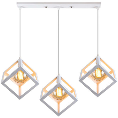 Whtie Industrial Chandelier Retro Cube Style Light Fixture 3 Lights Pendant Lights Creative Ceiling Light for Bar Kitchen Indoor Decoration