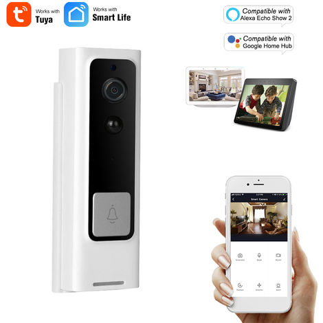 Wi-Fi inteligente timbre, HD 1080P, compatible con Alexa Echo Mostrar 2 y Google eje casero de control por voz