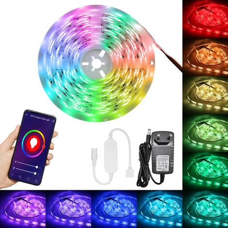 Wi-Fi LED inteligente Tiras de luces, 5050RGB Luz de cuerda que cambia de color, IP65 Resistente al agua