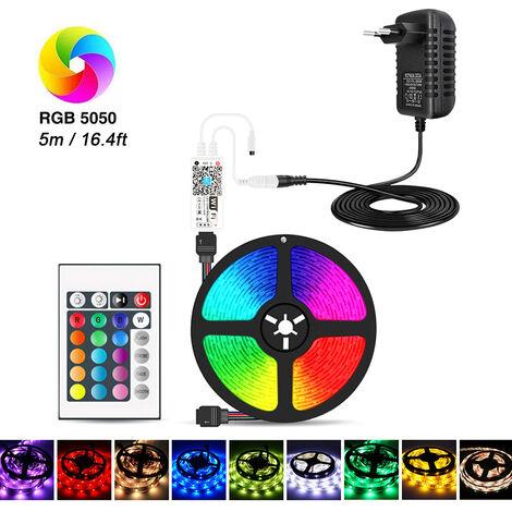 Wi-Fi RGB LED Franja 16.4 pies 150 LED con control remoto IR Cambio de Control y Wi-Fi Controlador Smart APP y control de voz y ajustador de color 5050 luces LED para techo Salon de fiestas (DC 12V / 3A), 5m de la UE