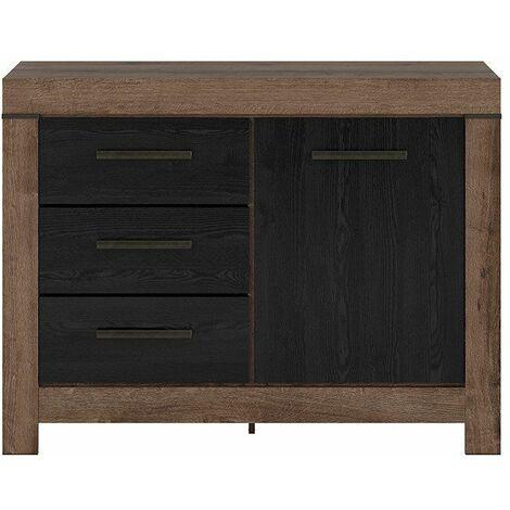 WIBORG - Petite commode style moderne salon/chambre/chambre d'ado - 112x85x45 - 3 tiroirs+casier| Meuble de chambre - Chêne/Noir