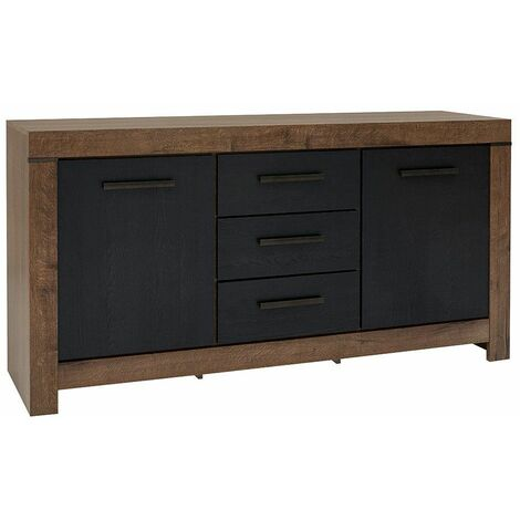WIBORG - Petite commode style moderne salon/chambre/chambre d'ado - 160x85x45 - 3 tiroirs+casier - Meuble de chambre - Chêne/Noir