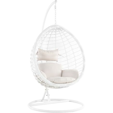 Wicker Hanging Egg Chair with Stand Swing Seat White PE Rattan Fano