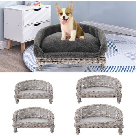 Wicker Pet Bed Willow Dog Cat Sofa Couch Sleeping Nest Puppy Basket Grey