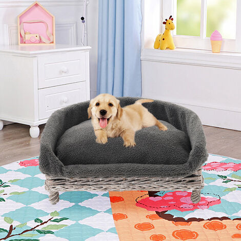 Wicker Pet Bed Willow Dog Cat Sofa Puppy Basket with Cushion Grey