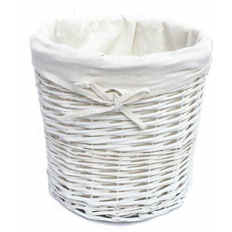 Wicker Round Waste paper Bin With Cotton Lining [White BIN 26x26.5cm]