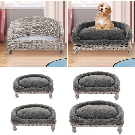 Wicker Woven Pet Bed Willow Dog Cat Sofa Puppy Basket Grey