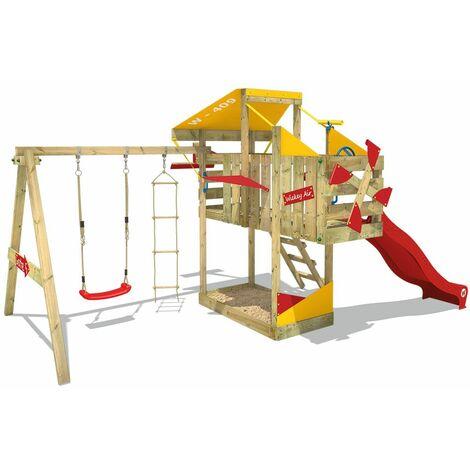 WICKEY Aire de jeux Portique bois AirFlyer avec balançoire et toboggan rouge Cabane enfant exterieur avec bac à sable, échelle d'escalade & accessoires de jeux