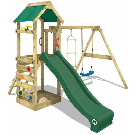 WICKEY Aire de jeux Portique bois FreeFlyer avec balançoire et toboggan vert Maison enfant exterieur avec bac à sable, échelle d'escalade & accessoires de jeux