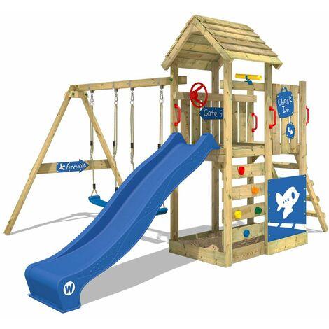 WICKEY Aire de jeux Portique bois MultiFlyer Deluxe avec balançoire et toboggan bleu Maison enfant exterieur avec bac à sable, échelle d'escalade & accessoires de jeux