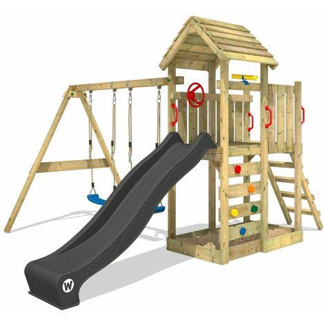 WICKEY Aire de jeux Portique bois MultiFlyer Toit en bois avec balançoire et toboggan Maison enfant exterieur avec bac à sable, échelle d'escalade & accessoires de jeux