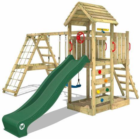 WICKEY Aire de jeux Portique bois RocketFlyer avec balançoire et toboggan vert Maison enfant exterieur avec bac à sable, échelle d'escalade & accessoires de jeux