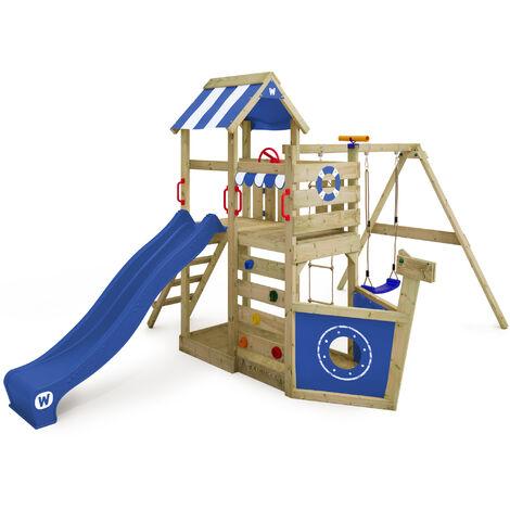 WICKEY Aire de jeux Portique bois SeaFlyer avec balançoire et toboggan bleu Cabane enfant exterieur avec bac à sable, échelle d'escalade & accessoires de jeux