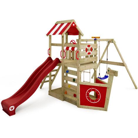 WICKEY Aire de jeux Portique bois SeaFlyer avec balançoire et toboggan rouge Cabane enfant exterieur avec bac à sable, échelle d'escalade & accessoires de jeux