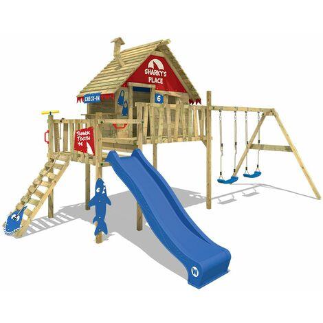 WICKEY Aire de jeux Portique bois Smart Bay avec balançoire et toboggan bleu Maison enfant sur pilotis avec échelle d'escalade & accessoires de jeux