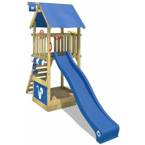 WICKEY Aire de jeux Portique bois Smart Club avec toboggan bleu Maison enfant exterieur avec bac à sable, échelle d'escalade & accessoires de jeux
