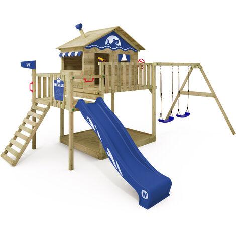 WICKEY Aire de jeux Portique bois Smart Coast avec balançoire et toboggan bleu Maison enfant sur pilotis avec bac à sable, échelle d'escalade & accessoires de jeux