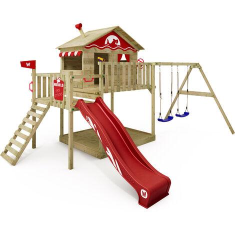 WICKEY Aire de jeux Portique bois Smart Coast avec balançoire et toboggan rouge Maison enfant sur pilotis avec bac à sable, échelle d'escalade & accessoires de jeux
