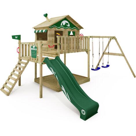 WICKEY Aire de jeux Portique bois Smart Coast avec balançoire et toboggan vert Maison enfant sur pilotis avec bac à sable, échelle d'escalade & accessoires de jeux