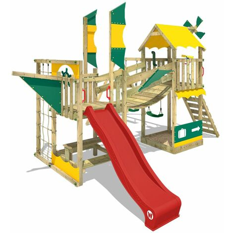 WICKEY Aire de jeux Portique bois Smart Cruiser avec balançoire et toboggan rouge Cabane enfant exterieur avec bac à sable, échelle d'escalade & accessoires de jeux