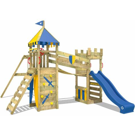 WICKEY Aire de jeux Portique bois Smart Fort avec balançoire et toboggan bleu Maison enfant exterieur avec bac à sable, échelle d'escalade & accessoires de jeux