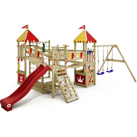 WICKEY Aire de jeux Portique bois Smart Queen avec balançoire et toboggan rouge Maison enfant exterieur avec bac à sable, échelle d'escalade & accessoires de jeux