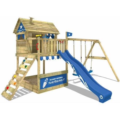 WICKEY Aire de jeux Portique bois Smart Seaside avec balançoire et toboggan bleu Maison enfant sur pilotis avec bac à sable, échelle d'escalade & accessoires de jeux
