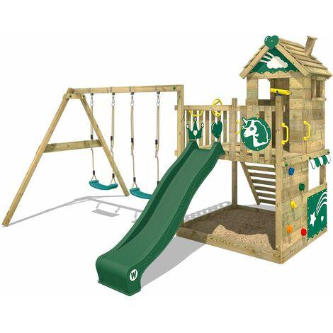 WICKEY Aire de jeux Portique bois Smart Sparkle avec balançoire et toboggan vert Cabane enfant exterieur avec bac à sable, échelle d'escalade & accessoires de jeux