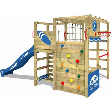 WICKEY Aire de jeux Portique bois Smart Tactic avec toboggan bleu Échafaudage grimpant avec mur d'escalade & accessoires de jeux