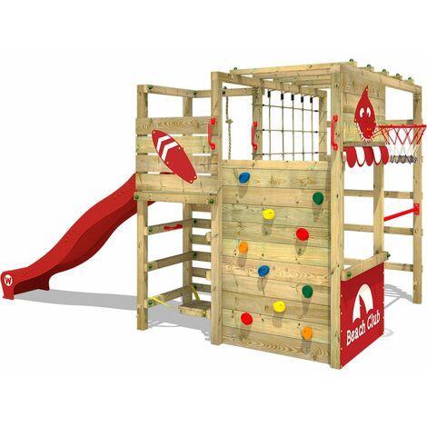 WICKEY Aire de jeux Portique bois Smart Tactic avec toboggan rouge Échafaudage grimpant avec mur d'escalade & accessoires de jeux