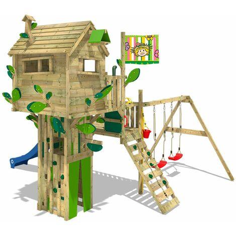 WICKEY Aire de jeux Portique bois Smart Treetop avec balançoire et toboggan bleu Cabane enfant exterieur avec échelle d'escalade & accessoires de jeux