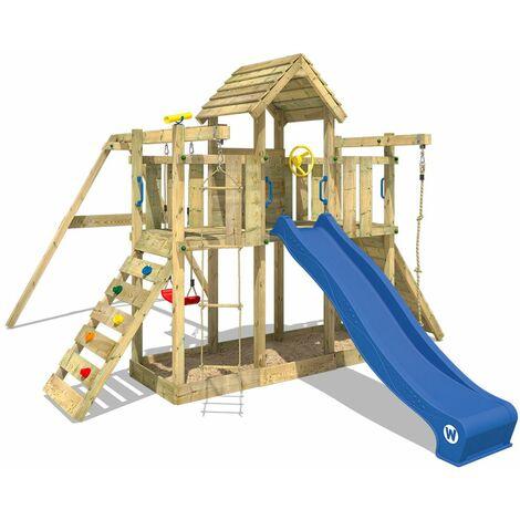 WICKEY Aire de jeux Portique bois Smart Twister avec balançoire et toboggan bleu Maison enfant exterieur avec bac à sable, échelle d'escalade & accessoires de jeux