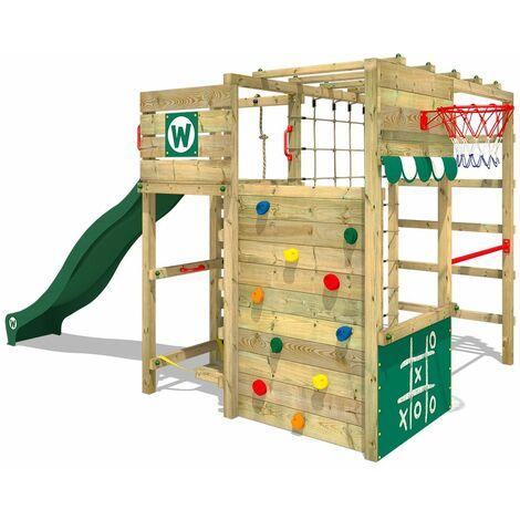 WICKEY Aire de jeux Portique bois Smart Victory avec toboggan vert Échafaudage grimpant avec mur d'escalade & accessoires de jeux