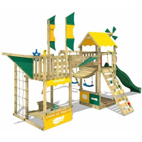 WICKEY Aire de jeux Portique bois Smart Wing avec balançoire et toboggan vert Cabane enfant exterieur avec bac à sable, échelle d'escalade & accessoires de jeux