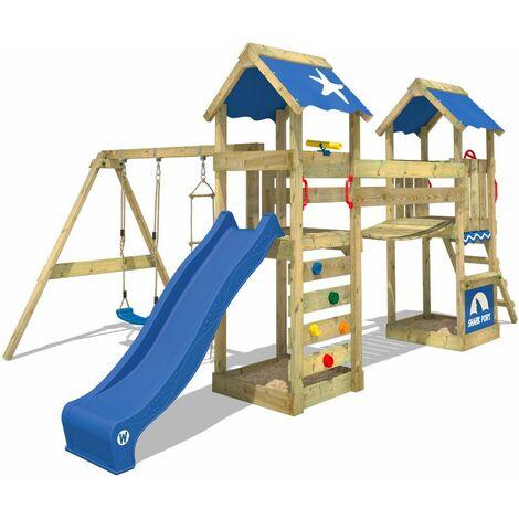 WICKEY Aire de jeux Portique bois SunFlyer avec balançoire et toboggan bleu Maison enfant exterieur avec bac à sable, échelle d'escalade & accessoires de jeux