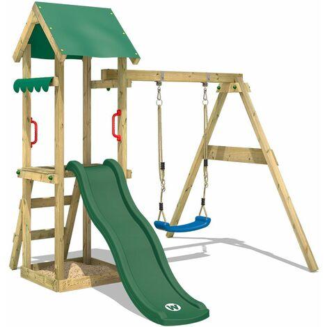 WICKEY Aire de jeux Portique bois TinyWave avec balançoire et toboggan vert Maison enfant exterieur avec bac à sable, échelle d'escalade & accessoires de jeux