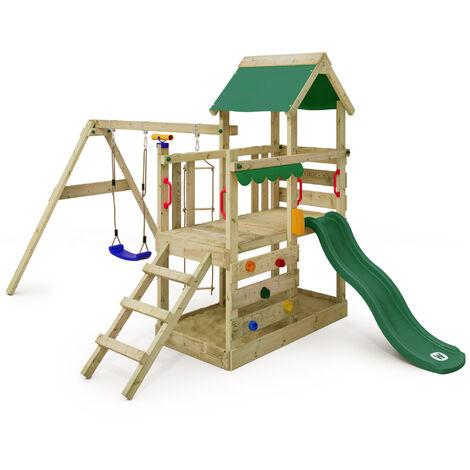 """main image of """"WICKEY Aire de jeux Portique bois TurboFlyer avec balançoire et toboggan vert Maison enfant exterieur avec bac à sable, échelle d'escalade & accessoires de jeux"""""""