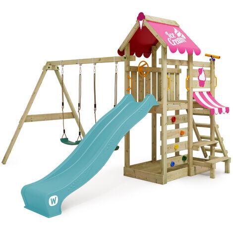 WICKEY Aire de jeux Portique bois VanillaFlyer avec balançoire et toboggan turquoise Maison enfant exterieur avec bac à sable, échelle d'escalade & accessoires de jeux
