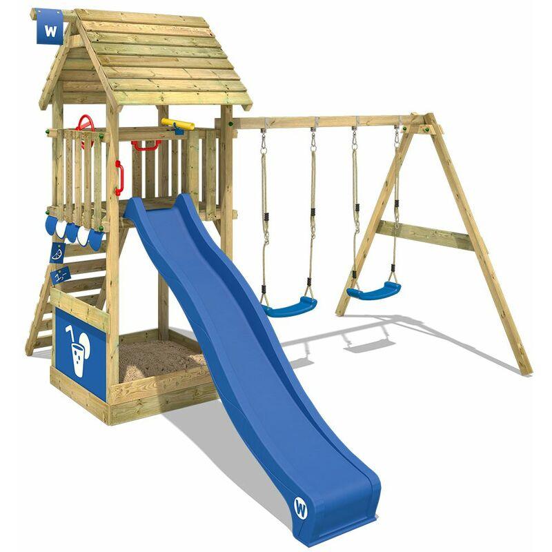 Aire de jeux Portique bois Smart Shelter Toit en bois avec balançoire et toboggan bleu Maison enfant exterieur avec toit en bois, bac à sable,